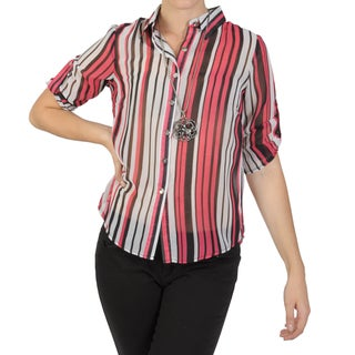 Journee Collection Juniors Striped Button-up Chiffon Top