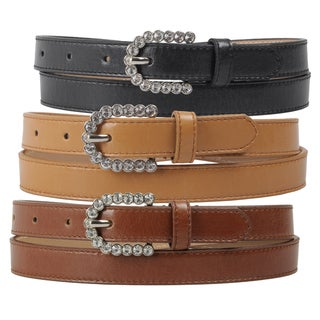 Journee Collection Women's Rhinestone Buckle Faux Leather Skinny Belt