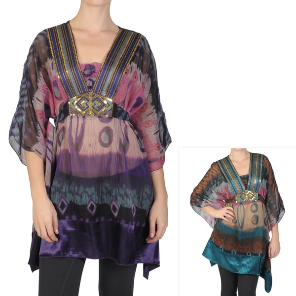 Tressa Designs Women's Contemporary Plus Embellished Neck Tunic