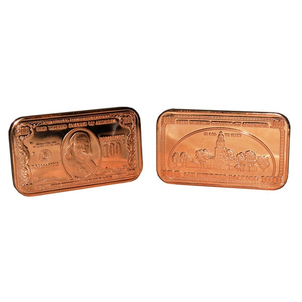 1 ounce 999 Pure Copper Bullion Ingot 2012 Ben Franklin $100 Note Design