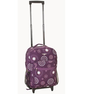 Rockland Designer Print 17-inch Purple Pearl Rolling Carry-on Backpack