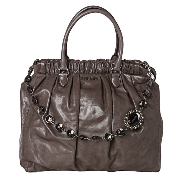 Miu Miu RN0819 US0 F0031 Vitello Shine Textured Leather Tote Bag