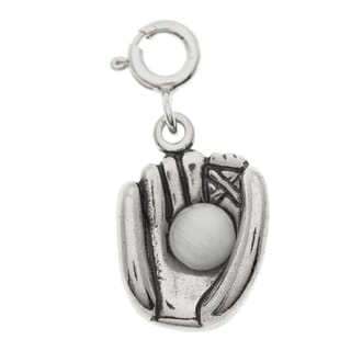 Sterling Silver White Freshwater Pearl Baseball Glove Charm