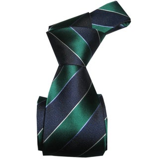 Dmitry Men's Green-and-Blue Striped Italian-Silk Tie