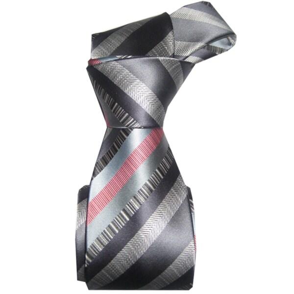Dmitry Men's Grey Striped Italian Silk Tie