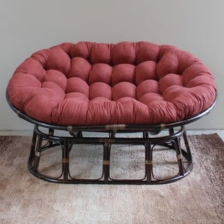 International Caravan Rattan Mamasan Double Papasan Chair with Tufted Microsuede Cushion
