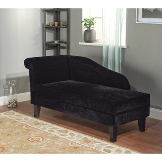 Simple living milan microfiber black storage chaise lounge for Black microfiber chaise
