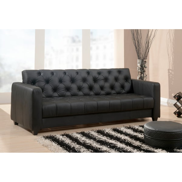 Abbyson Living Marquee Black Faux-leather Convertible Sofa