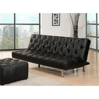 Abbyson Living Avalon Black Faux-leather Convertible Sofa