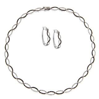 Finesque 1ct TDW Black Diamond Infinity Necklace and Bonus Diamond Hoop Earrings