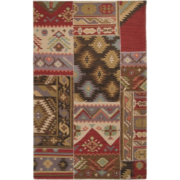 Hand crafted Multi Colored Southwestern Aztec Badsey Wool Rug (2' x 3')