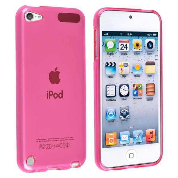 Insten Hot Pink Clear TPU Rubber Candy Skin Glossy Case Cover For Apple iPod Touch 5th/ 6th Gen