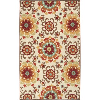 Hand-hooked Doral Indoor/Outdoor Floral Medallion Rug