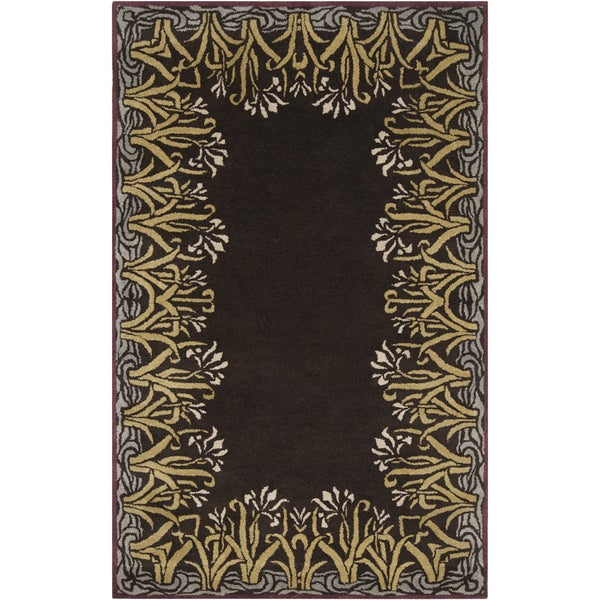 Smithsonian Hand-tufted Davie Floral Border Wool Rug