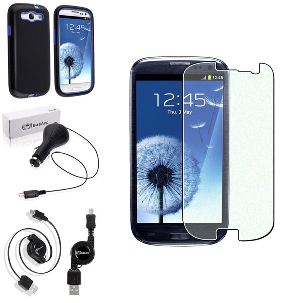 BasAcc Hard Case/Screen Protector/Charger for Samsung Galaxy S3