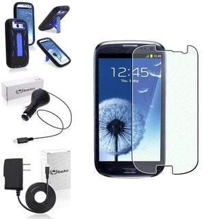 BasAcc Hybrid Case with Stand/Screen Protector/Chargers for Samsung Galaxy S3