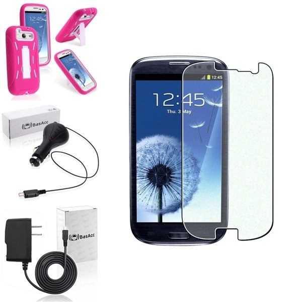BasAcc Hot Pink Case/Screen Protector/Chargers for Samsung Galaxy S3