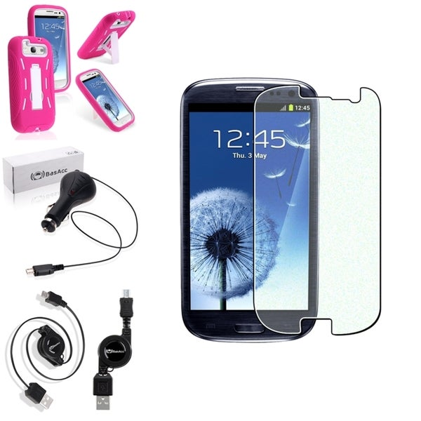 BasAcc Pink Hands-Free Case/Screen Protector/Charger for Samsung Galaxy S3