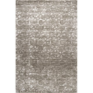 Hand-crafted Solid Floral Ohio Wool Rug