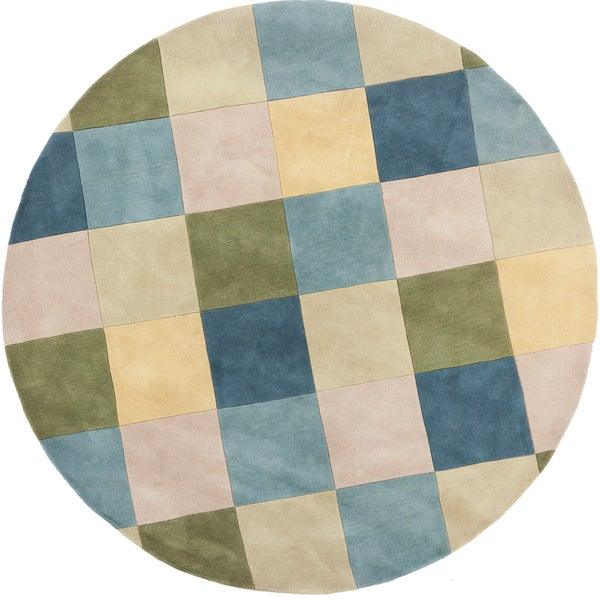 Hand-tufted Libra Ivory Geometric Checkerboard Wool Rug (8' Round)