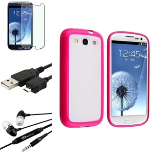 BasAcc TPU Pink Trim Case/Screen Protector/Headset for Samsung Galaxy S3