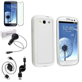 BasAcc White Trim Case/Anti-Glare Screen Protector/Charger for Samsung Galaxy S3