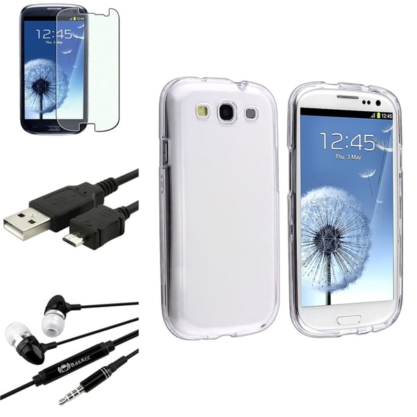 INSTEN Crystal Snap-On Phone Case Cover/ Screen Protector/ Headset for Samsung Galaxy S3