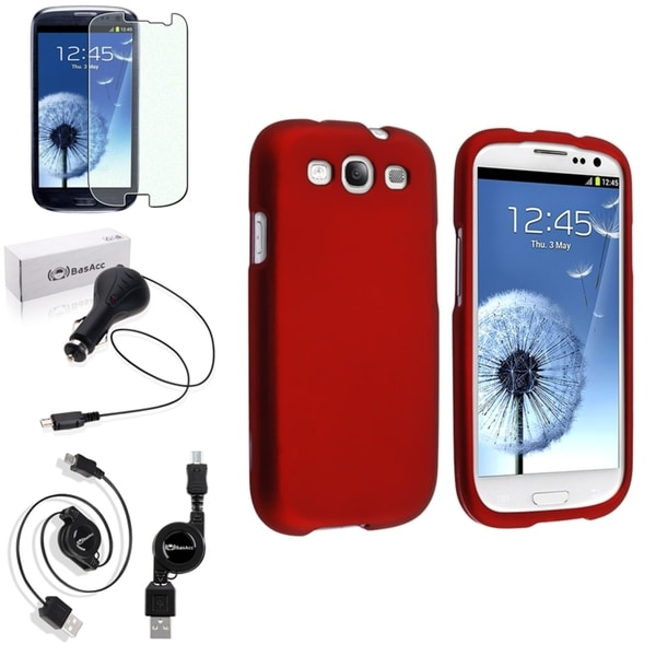 INSTEN Snap-On Red Case Cover/ Screen Protector/ Charger for Samsung Galaxy S3