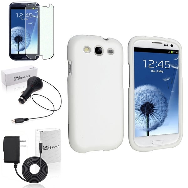 BasAcc Snap-On White Case/Screen Protector/Chargers for Samsung Galaxy S3