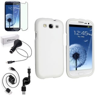BasAcc Snap-On White Case/Screen Protector/Charger for Samsung Galaxy S3