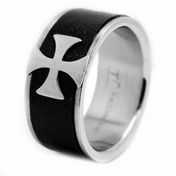 Oliveti Stainless Steel Black Leather Inlay Cross Ring
