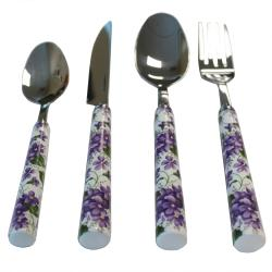 Casa Cortes Lily 24-pc Stainless Steel Flatware Set with Utensil ...