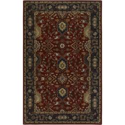 Hand-tufted Hellenic Red Wool Rug (7'6 x 9'6)