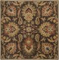 Hand-tufted Grand Chocolate Brown Floral Wool Rug (4' Square)