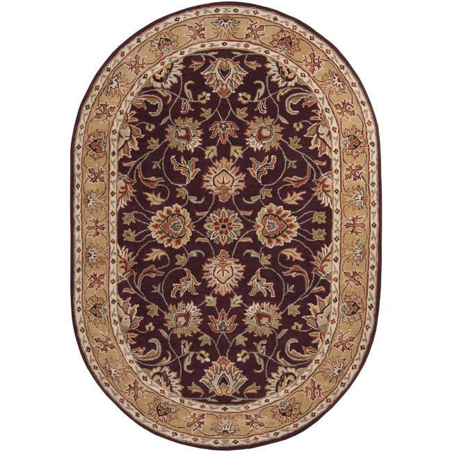 Hand-tufted Casa Plum Wool Rug (8' x 10' Oval)