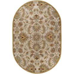 Hand-tufted Stage Gold Wool Rug (8' x 10' Oval)