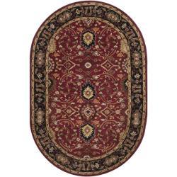 Hand-tufted Hellenic Burgundy Wool Rug (8' x 10' Oval)