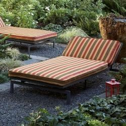 Alyssa Autumn Stripe Adjustable Outdoor Chaise with Sunbrella Fabric Cushion