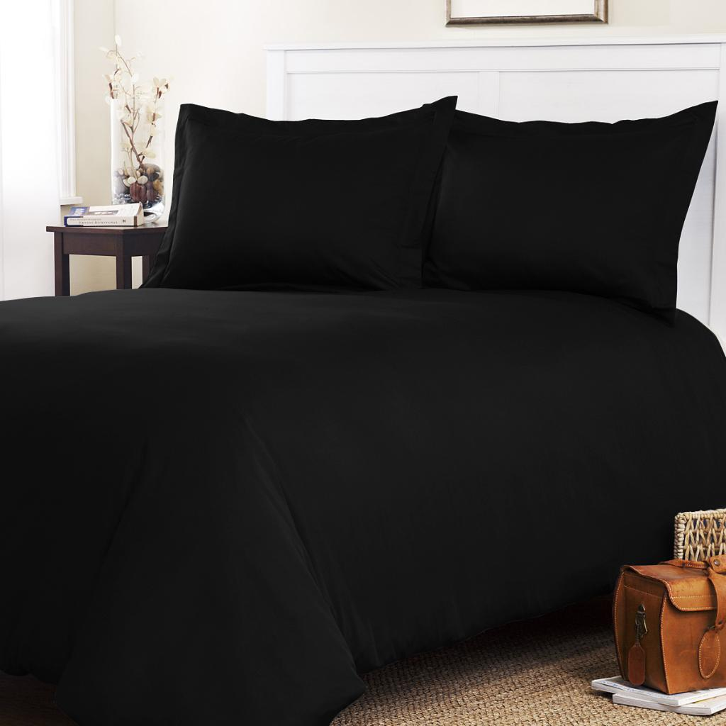 Roxbury Park Solid Black Queen Size 3 Piece Duvet Cover