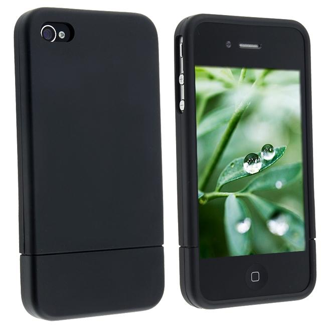 Snap-on Black Rubber Coated Case for Apple iPhone 4