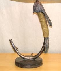 Pewter and Brown Fish Hook Table Lamp