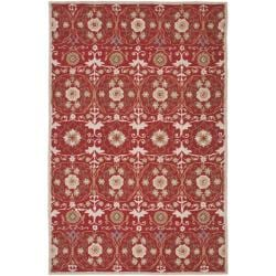 Hand-hooked Chelsea Styles Red Wool Rug (7'9 x 9'9)