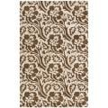 Handmade Soho Floral Brown/Ivory New Zealand Wool Rug (5' x 8')