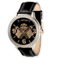 Ed Hardy Men's Apollo Skull/ Flags Black Leather Strap Watch