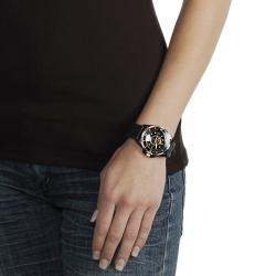 Geneva Platinum Women's Rhinestone-accented Black Silicone Watch
