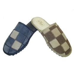 Men's Leather Patch House Slippers (Case of 24 Pair)