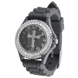 Geneva Platinum Women's Rhinestone-accented Cross Silicone Watch