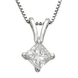 14k Gold 1/3ct TDW Princess Diamond Solitaire Necklace (I-J, I1-I2)