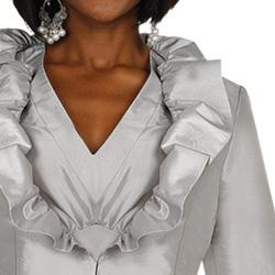 Divine Apparel Women's Missy Silver Taffeta Ruffled Jacket 2-piece Dress