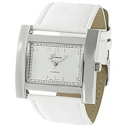Geneva Platinum Women's Crocodile Faux Leather Strap Watch